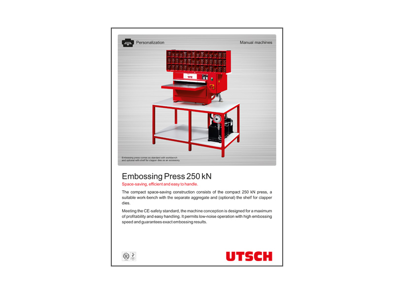 Embossing Press 250 kN - Space-saving, efficient and easy to handle.
