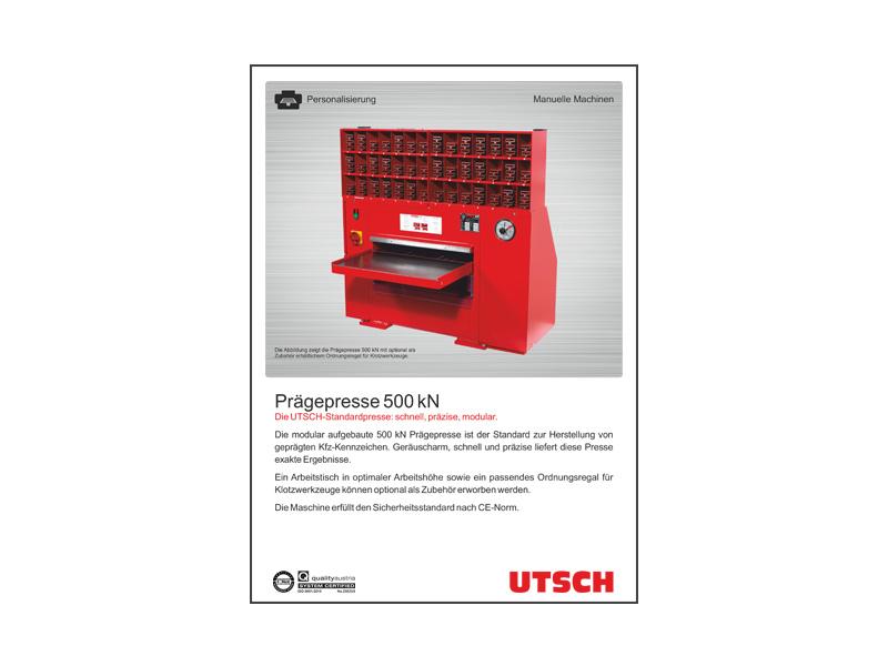 UTSCH Prägepresse 50 t - Hydraulische Tischprägepresse zur Herstellung von Kfz-Kennzeichen.
