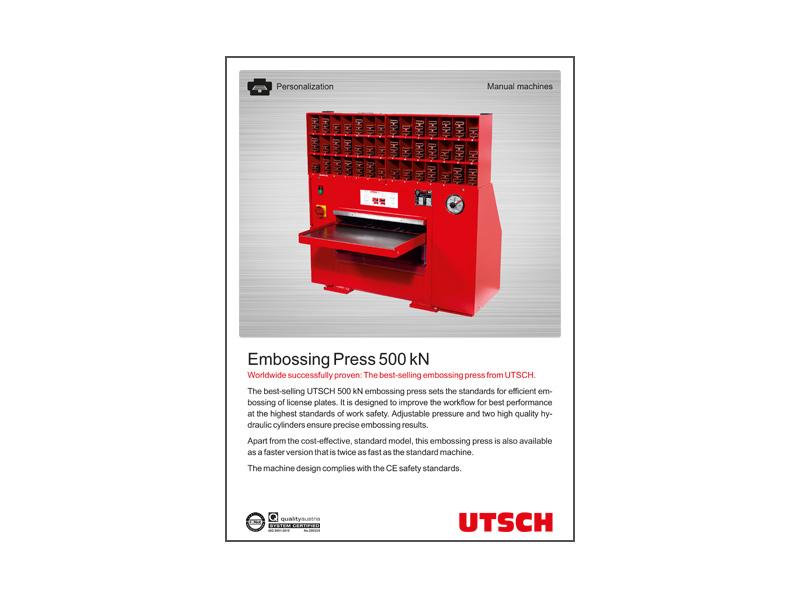 Embossing Press 500 kN - Best-selling embossing press of UTSCH