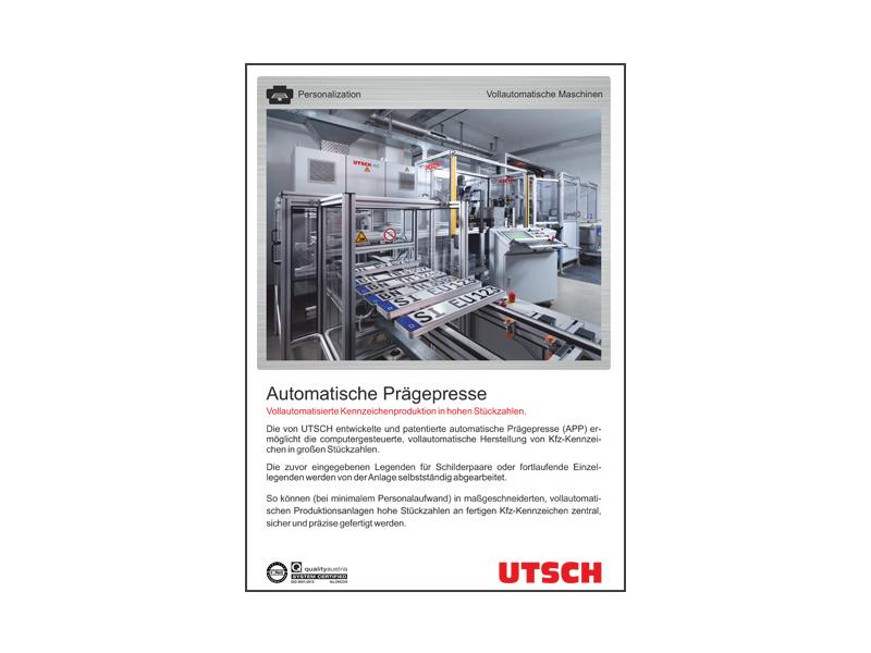 Automatische Prägepresse APP - Computergesteuerte, vollautomatische Herstellung von Kfz-Kennzeichen.