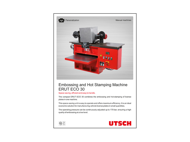 Embossing and Hot Stamping Machine ERUT ECO 30 - 2 in 1: Combining embossing and hot-stamping in one machine.