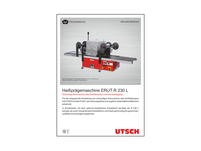 Heißprägemaschine ERUT R 230 L - Zur Herstellung von Schilderpaaren und zweizeiligen Kennzeichen.