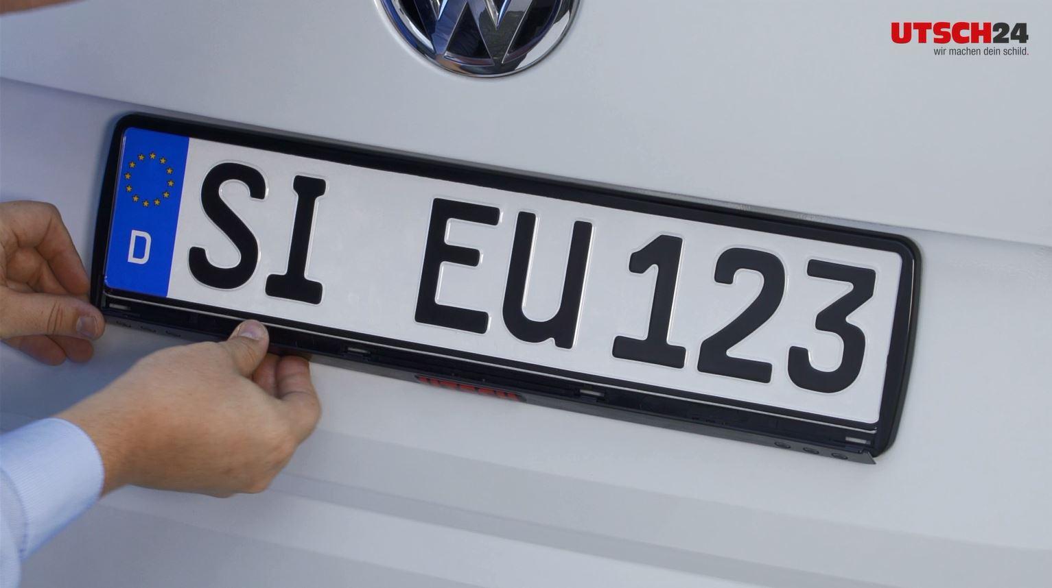 Kennzeichenhalter ERUCARAT Standard Silver-Black gerade